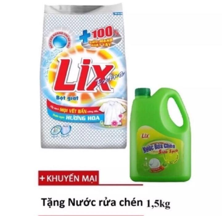 Siêu Tiết Kiệm Khi Mua Bột Giặt Lix Extra Hương Hoa 6Kg -Khuyến Mãi Rửa Chén 1.5Kg -Tẩy Sạch Vết Bẩn Cực Mạnh