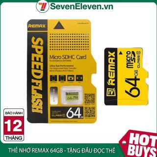 [ Tặng đầu đọc thẻ ] Thẻ nhớ 64GB Micro SDHC Class 10 thương hiệu Remax màu vàng dễ nhận diện cho điện thoại , Camera tặng kèm Đầu đọc thẻ tiện lợi thumbnail