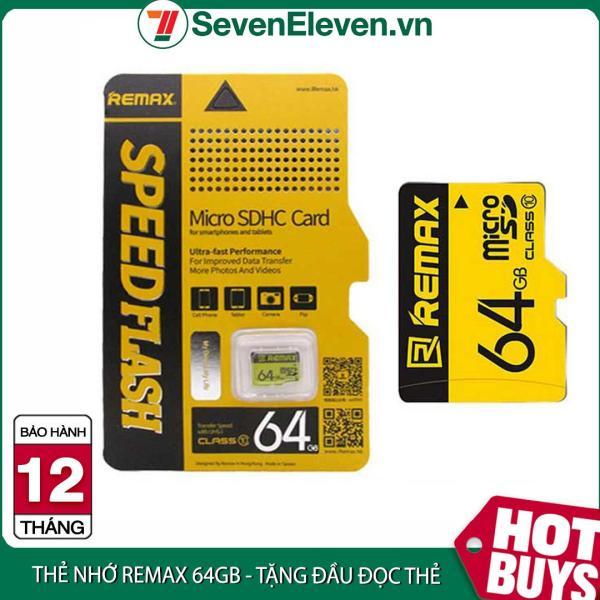 Thẻ nhớ MicroSD REMAX 64GB Class 10 màu vàng tặng kèm đầu đọc thẻ tiện dụng