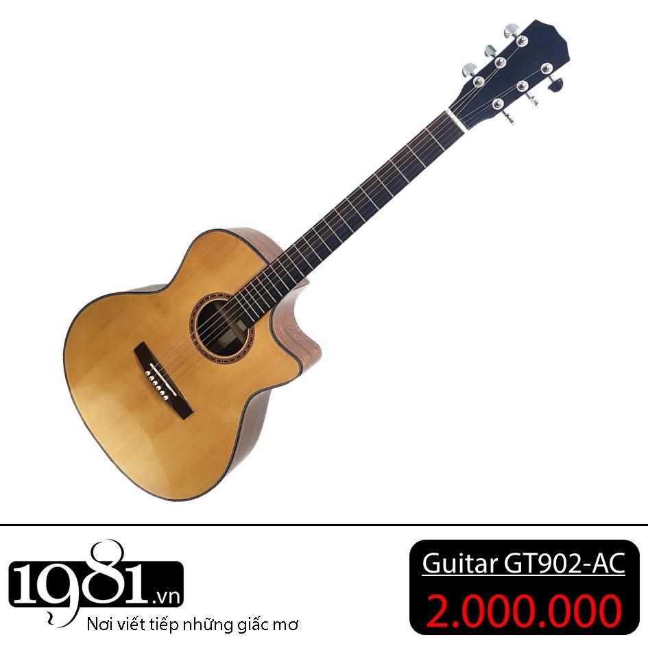 Đàn guitar Acoustic GT902-AC gỗ tự nhiên, thương hiệu của xưởng sản xuất 1981, đàn chất lượng với combo nhiều phụ kiện đi kèm