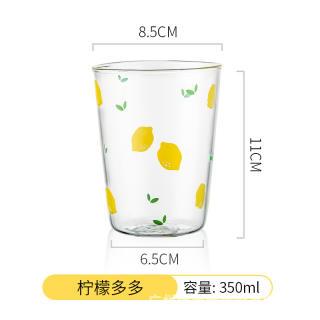 Cốc thủy tinh dễ thương ins yoholoo cốc nước cốc cà phê chịu nhiệt họa tiết trái cây hoạt hình, quà tặng trong suốt cốc sữa, cốc soda mùa hè - hình 4