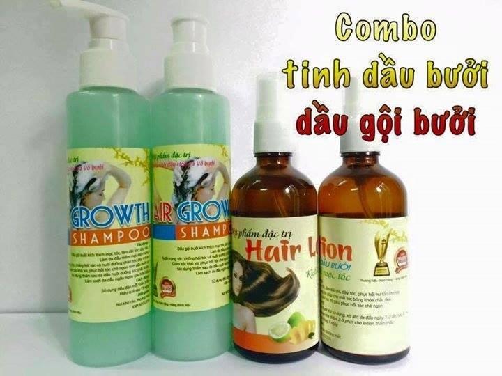 Combo tinh dầu bưởi 100ml và dầu gội bưởi 180ml Mỹ phẩm đặc trị rụng tóc, kích thích mọc tóc tốt nhất