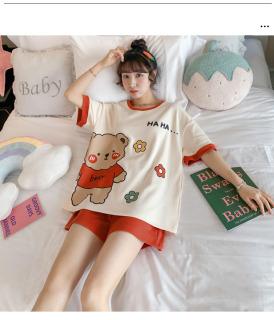 Đồ Bộ Nữ mặc nhà Cotton Form rộng thời trang cho mùa hè- Bộ ngủ - Bộ đồ mặc nhà _ mã BC-02 thumbnail