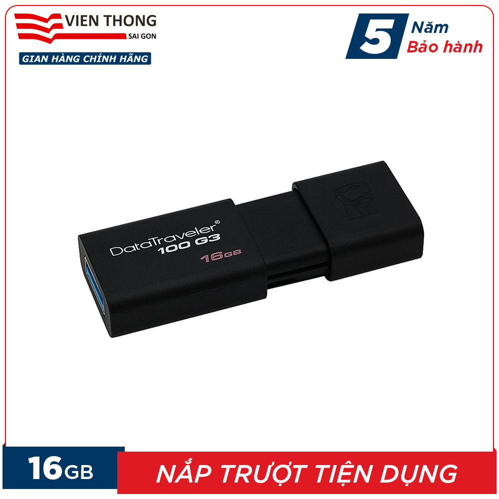 USB 16GB Kingston DT100G3 Nắp Trượt Tiện Dụng - Hãng Phân Phối Chính Thức (PT1.1) Đang Trong Dịp Khuyến Mãi