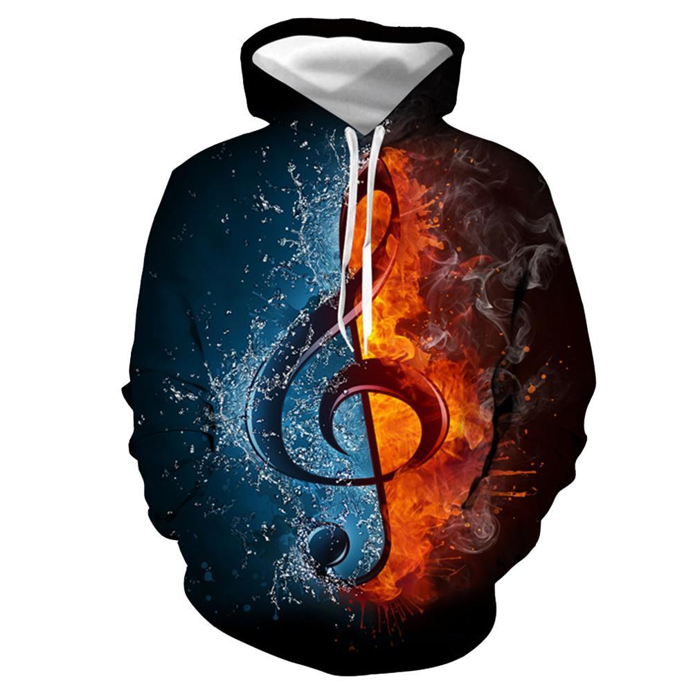 ผู้หญิงผู้ชาย Musical Note 3D ดิจิตอลพิมพ์เสื้อเบสบอลแขนยาว Pullovers หลวม Hoodies เสื้อผ้าแฟชั่น