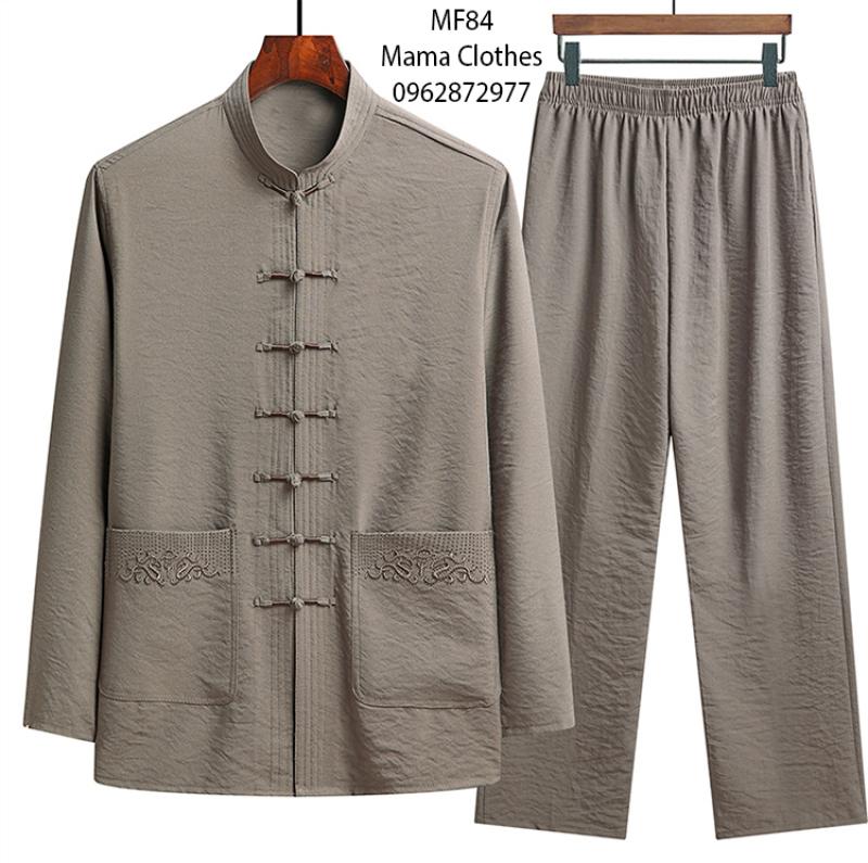 bộ quần áo ông già , bộ quần áo dài tay đi chùa nam mf85