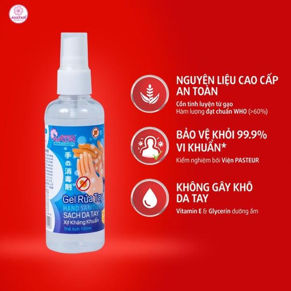 Xịt rửa tay khô AVATAR - Xịt kháng khuẩn - Dạng xịt - 75% CỒN (100ml)