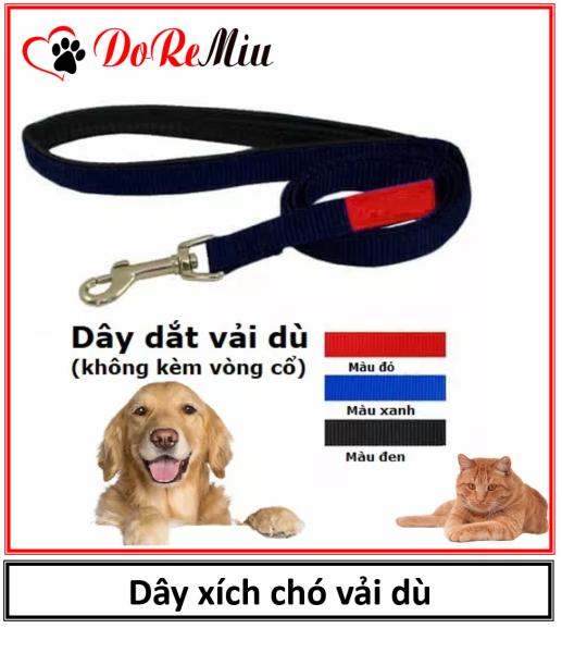 Doremiu - Dây xích chó mèo vải dù (không kèm vòng cổ) dài 1,2m dành cho chó mèo dưới 12kg