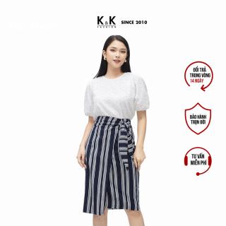 Chân Váy Công Sở Nữ Kiểu Đắp Chéo Họa Tiết Kẻ Sọc Phối Nơ Eo K&K Fashion CV03-02 thumbnail