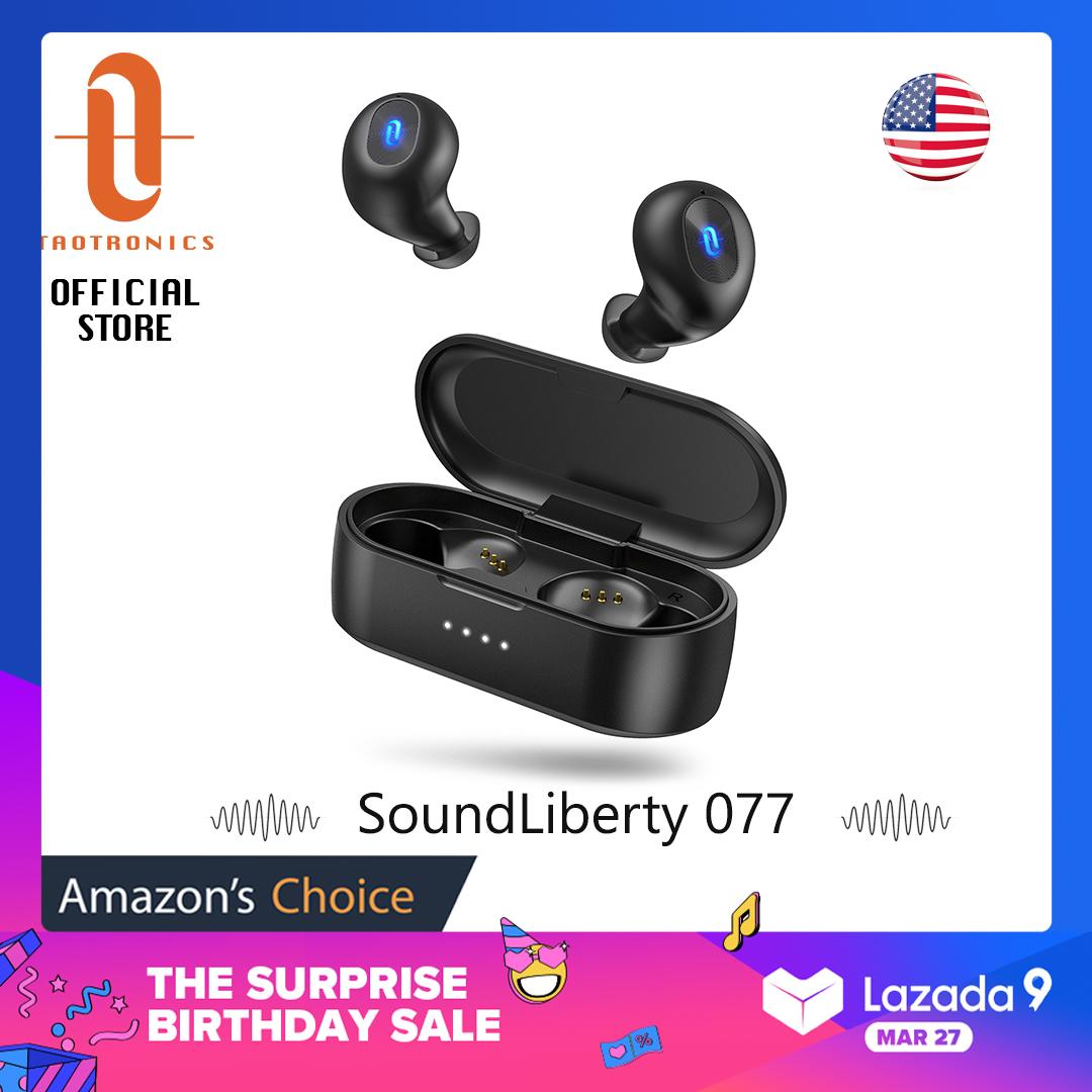 Tai Nghe Bluetooth Không Dây TT-BH077 TaoTronics, Tai Nghe 5.0 SoundLiberty 77, IPX7 Âm Thanh Nổi Hi-Fi Chống Nước Mở Để Ghép Nối Miễn Phí Để Chuyển Chế Độ Đơn/Đôi Với Thời Gian Phát 20 Giờ
