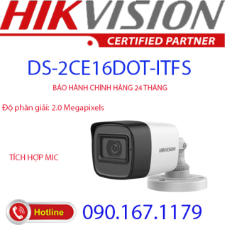 [HCM]Camera HD-TVI hồng ngoại 2.0 Megapixel HIKVISION DS-2CE16D0T-ITFS thumbnail