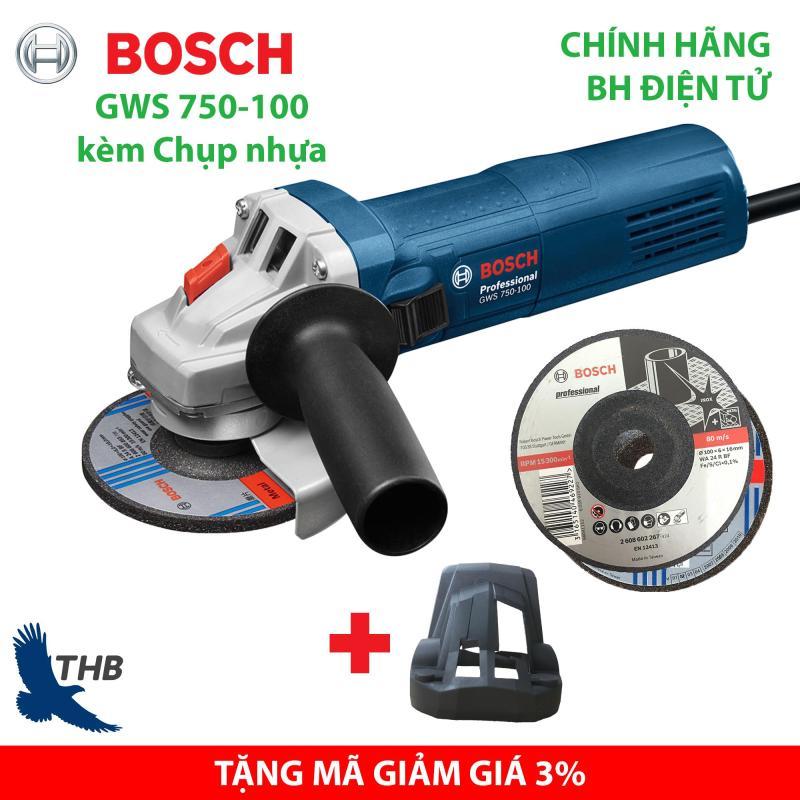 Máy mài góc Bosch GWS 750-100 hàng chính hãng kèm chụp nhựa tặng đá cắt mài
