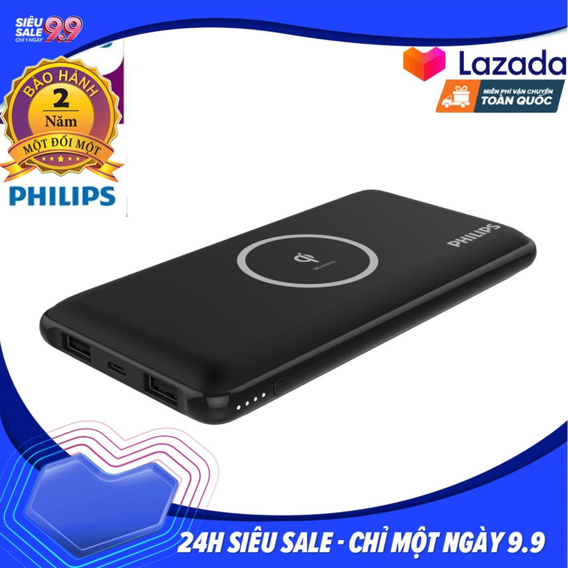 Pin sạc dự phòng kim sạc không dây Philips DLP9611 với công nghệ Qi