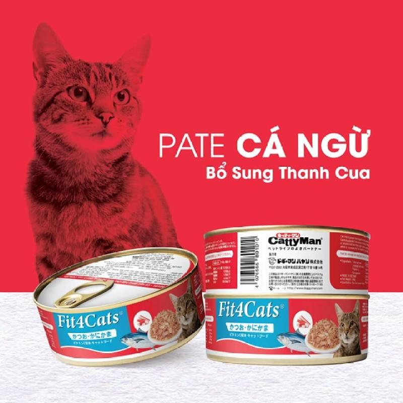 Pa tê Cá ngừ topping cá hồi cho mèo Fit4Cats Cattyman 160g