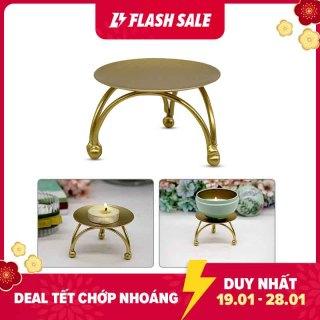 Leegoal Giá đỡ nến hình tròn màu vàng chất liệu sắt rèn chống gỉ dùng trang trí tiệc đám cưới đường kính 2.75 inch x cao 1.7 inch - INTL thumbnail