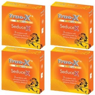 Bộ 4 hộp Bao cao su chấm nổi toàn thân True-x SEDUCE X siêu gai hộp 3c thumbnail