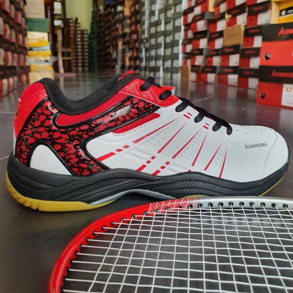 Giày cầu lông, giày bóng chuyền nam nữ Kawasaki K063 hàng hiệu mầu trắng đỏ, Giày cầu lông nam nữ Kawasaki K063 màu trắng đỏ