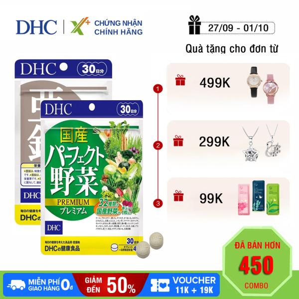 Combo GIẢM MỤN - NÓNG TRONG DHC Nhật Bản viên uống kẽm zinc và viên uống rau củ thực phẩm chức năng giúp hỗ trợ miễn dịch 30 ngày XP-DHC-CB3