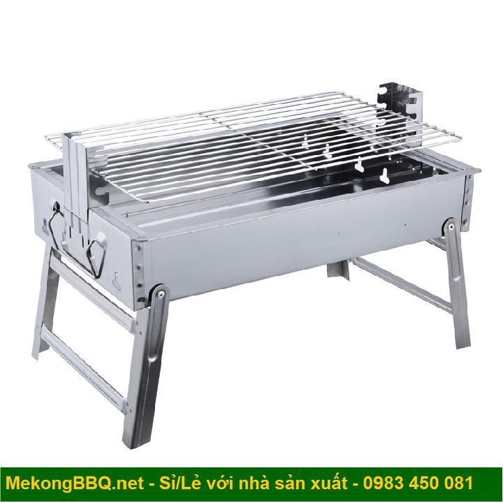 Bếp nướng than hoa cao cấp Mekongtech cỡ lớn thay đổi chiều cao vỉ gấp gọn tiện dụng không khói lò nướng ngoài trời ( hình chữ nhật)