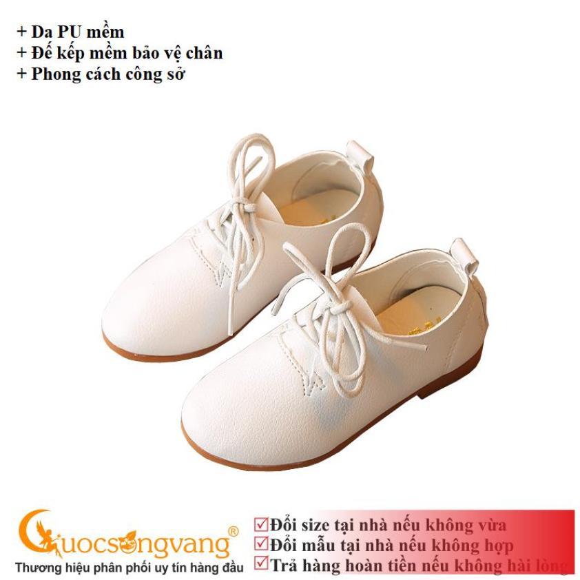 Giày bé trai giày da bé trai màu trắng công tử GLG037 trắng giá rẻ