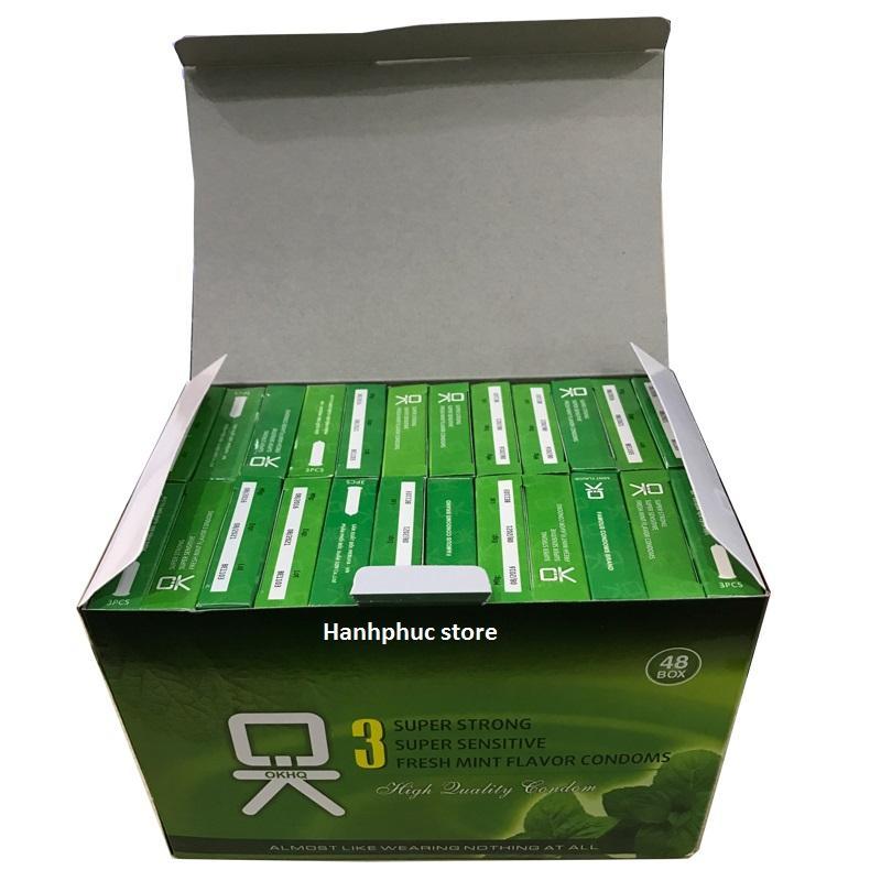 Bộ 1 hộp lớn Bao cao su OK bạc hà mát lạnh cho cảm giác thăng hoa (144 cái)