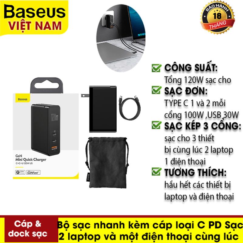 Bảng giá Bộ sạc nhanh { GaN mini quick charger C+C+U 120W } kèm 1 cáp loại C PD . Củ sạc USB C Sạc QC4.0 QC3.0 cho 2 laptop và một điện thoại cùng lúc . 2 màu trắng đen , chân sạc tròn và dẹp Phong Vũ
