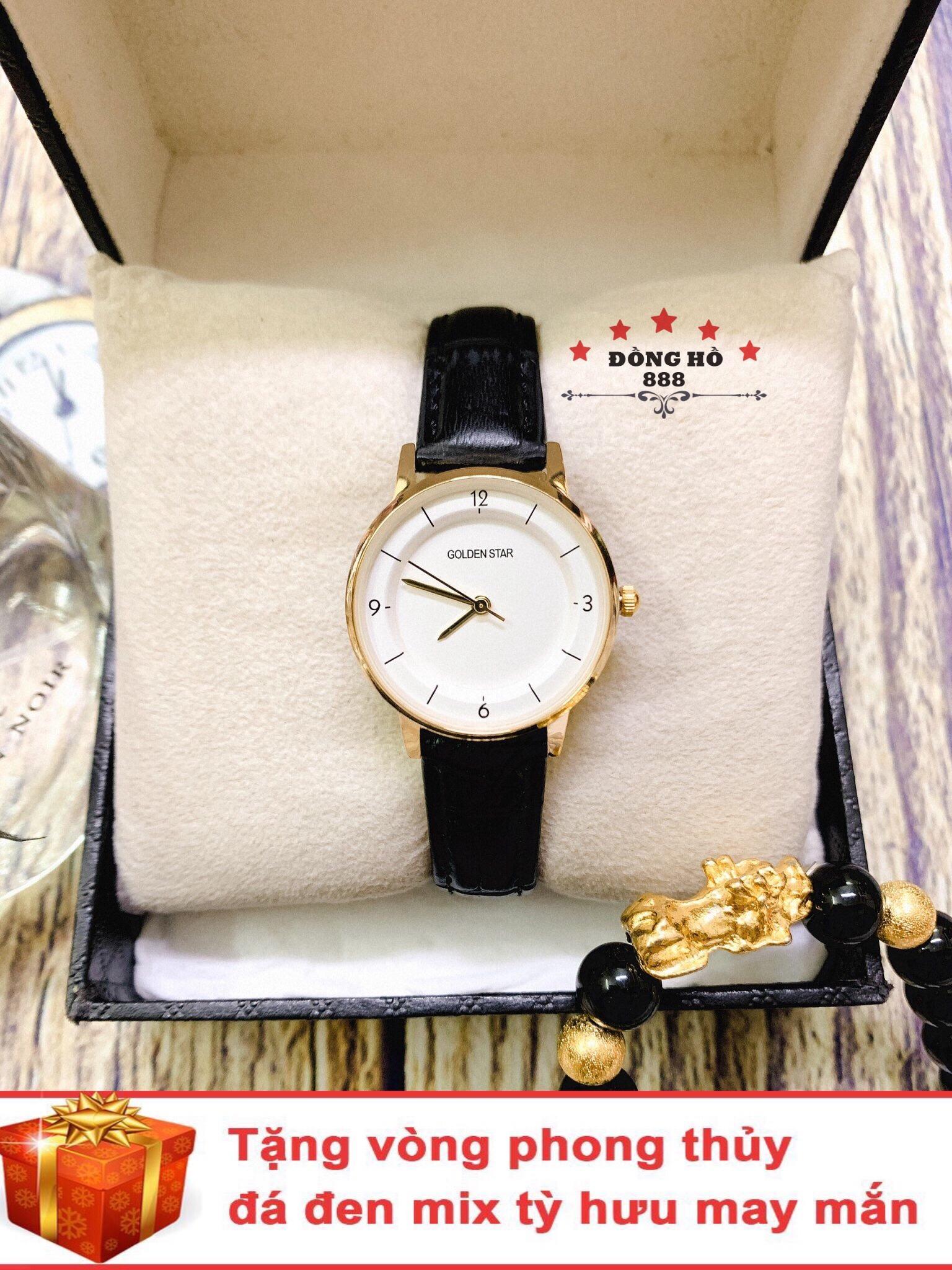 Đồng hồ nữ GOLDEN STAR dây da thời thượng ( GS3194 Dây đen mặt trắng ) - TẶNG 1 vòng tỳ hưu phong thuỷ bán chạy