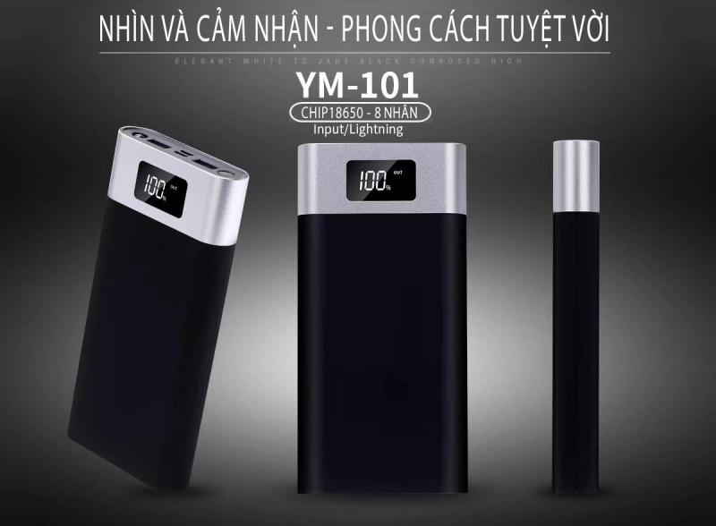 Giá Pin Sạc dự phòng YM-101 dung lượng khủng 20000 mAh Cát Thái đèn LED hiên th, tích hợp đèn pin chiếu sáng 2 cổng USB sạc cùng lúc 2 thiết bị