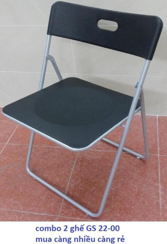 Bộ gồm 2 ghế xếp - ghế gấp - ghế làm việc Xuân Hòa GS 22-00 MÀU ĐEN giá rẻ