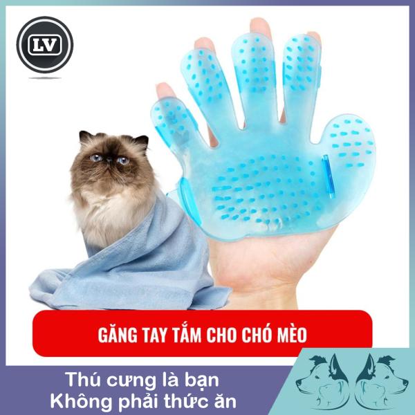 Găng tay tắm cho chó mèo và massage bằng nhựa dẻo cho thú cưng