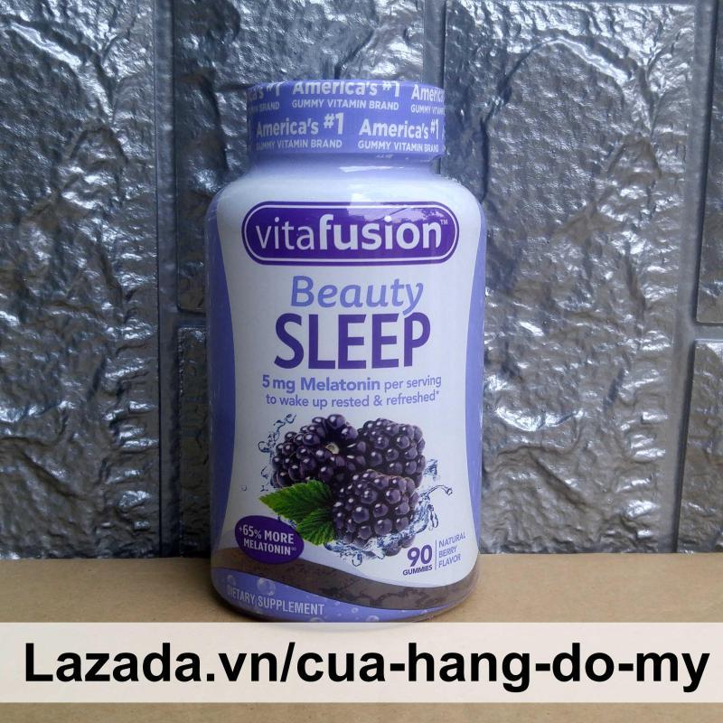 Kẹo dẻo hỗ trợ ngủ ngon Vitafusion Beauty Sleep 5mg Melatonin Vị mâm xôi - nâng cao giấc ngủ cho bạn cao cấp