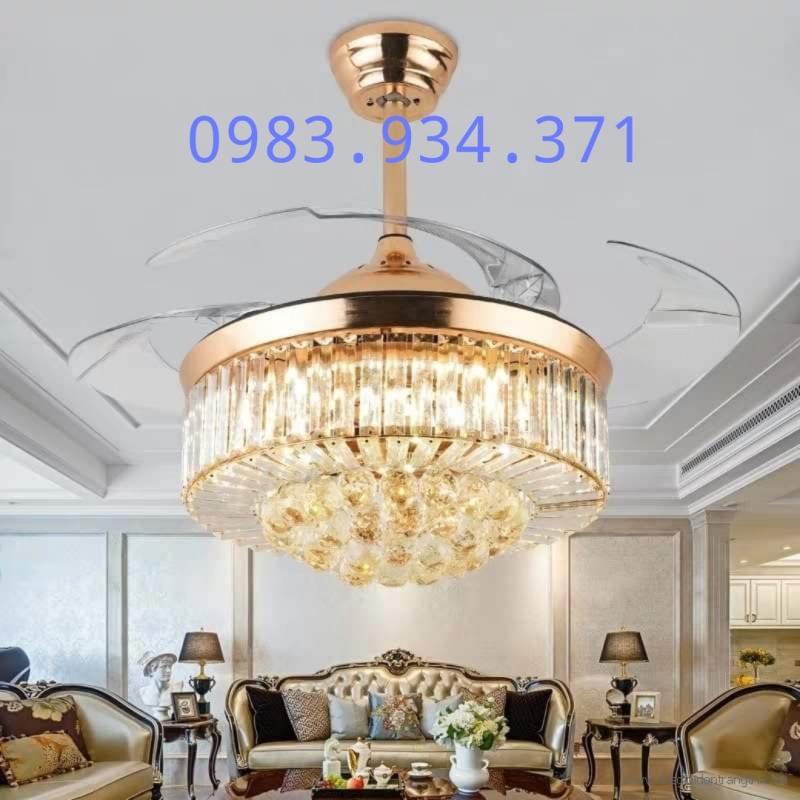 Quạt trần đèn thanh và chùm pha lê PL02