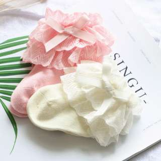 2 Cái/bộ Nơ Ren Dễ Thương Vớ Bé Gái Sơ Sinh Vớ Cotton Mềm Cho Bé