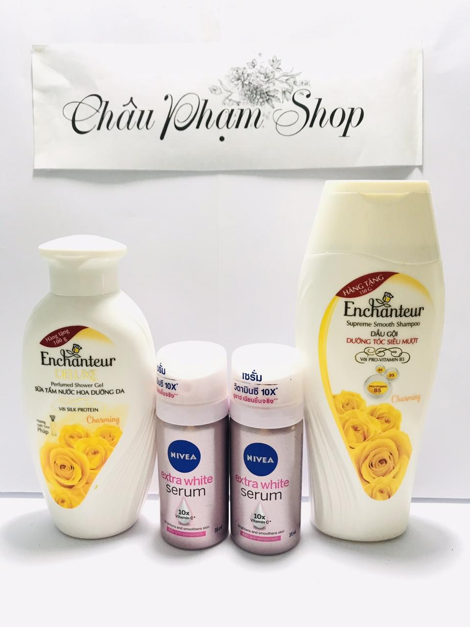 Mua trọn bộ 4 món dành cho nữ : 1chai Sữa Tắm Enchanteur Deluxe + 1chai Dầu Gội Enchanteur Charming + Tặng 2 chai xịt khử mùi serum nivea nữ cao cấp