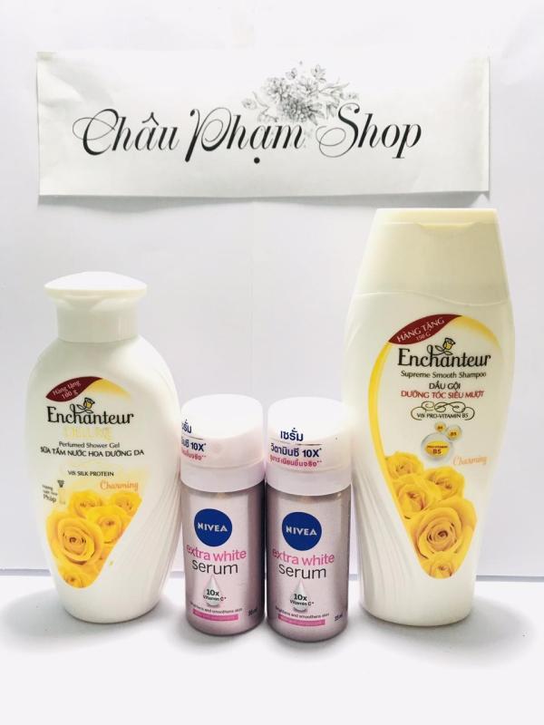 Mua trọn bộ 4 món dành cho nữ : 1chai Sữa Tắm Enchanteur Deluxe + 1chai Dầu Gội Enchanteur Charming + Tặng 2 chai xịt khử mùi serum nivea nữ nhập khẩu