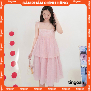Váy hai dây dài hoa xù hồng nhạt tingoan CRACE MIDI DRESS PK thumbnail