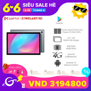 Teclast P20HD 10.1 Inch 4GB RAM 64GB ROM Tablet Android 10.0 OS 4G Phone Call FHD Screen 1920×1200 Bluetooth 5.0 SC9863A Octa Core 6000mAh Battery Tablets PC Dual Wifi