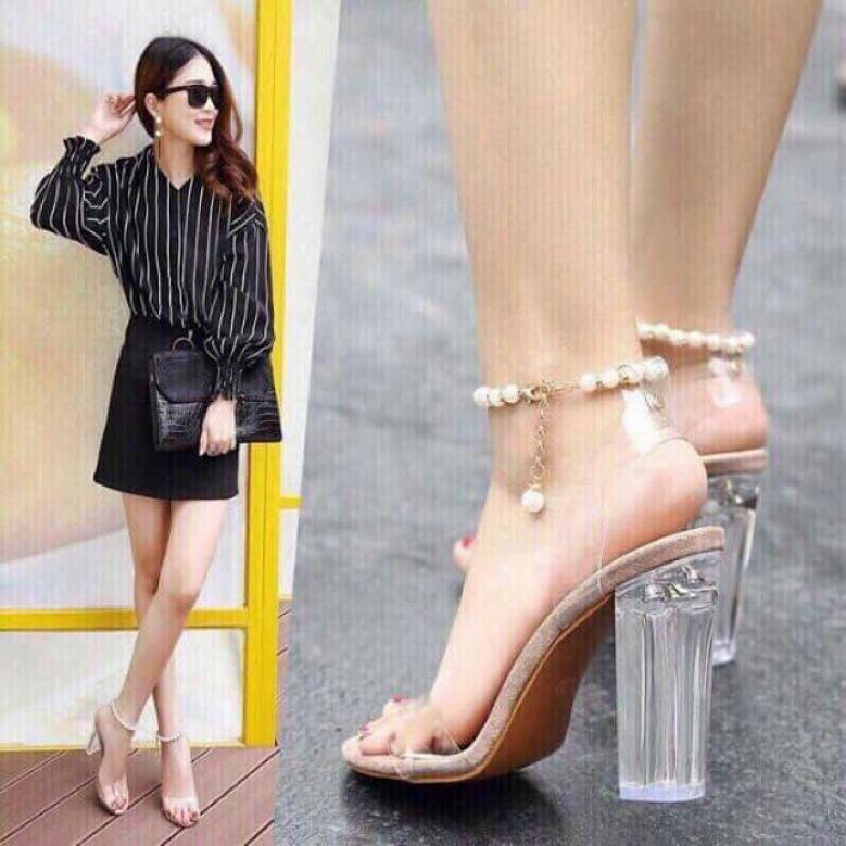 (xả kho) Giày Sandal Cao Gót Nữ Quai Ngang Trong Suốt, Quai ngọc THỜI TRANG NỮ SUMO SHOP phong cách hàn quôc giá rẻ