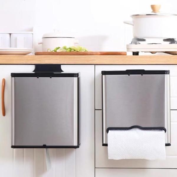 Thùng rác treo tủ inox 304 cao cấp, thùng rác dán tường, thùng rác thông minh, thùng rác nhà bếp, thùng nhà tắm