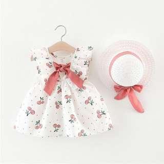 Đầm công chúa kaiodako cho bé gái Đầm chấm bi hoa anh đào không tay có mũ kèm nơ