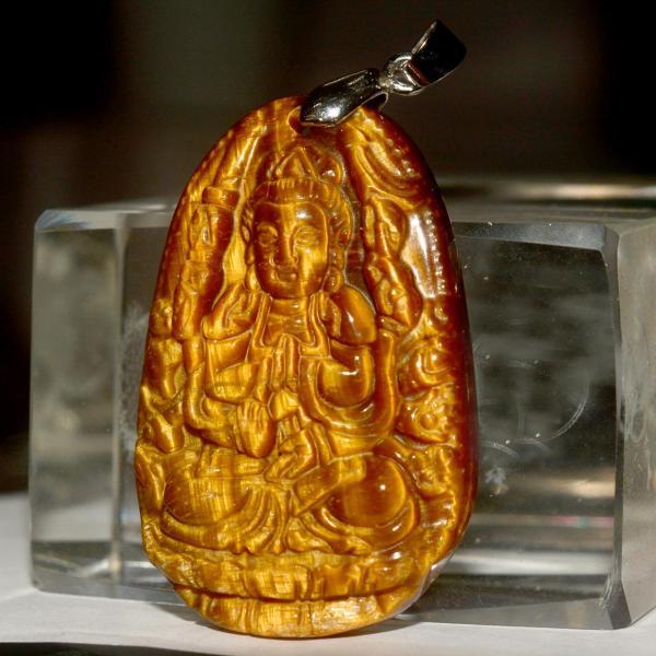 Mặt dây chuyền đá mắt hổ hình Phật bản mệnh-Tặng kèm dây chuyền inox