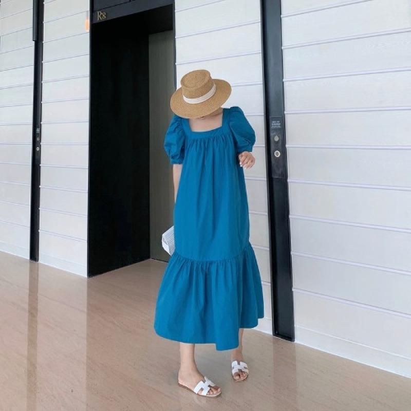 Khổng Lồ Trắng Phong Cách Retro Màu Xanh Giống Nàng Tiên Váy Dài Cổ Vuông Tay Bồng Kiểu Pháp Cạp Cao Đầm Nữ Mùa Hè 2020 Mẫu Mới