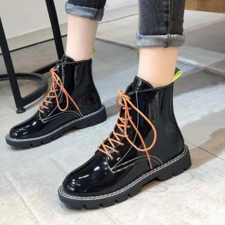 [ KÈM ẢNH THẬT ] Boot Da Đế Thấp Bao Chất Bao Ngầu Cho Các Nàng Cá Tính - Giày Đôi Nam Nữ 2020 - Hai màu Đen Lì , Đen Bóng thumbnail