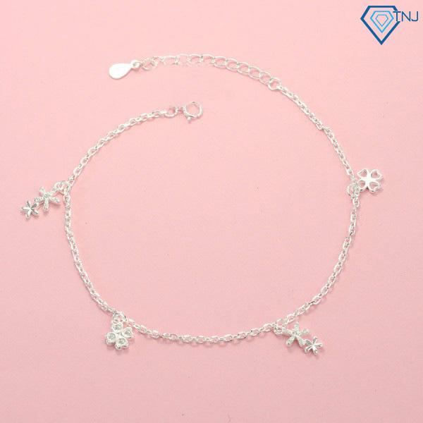 Lắc chân bạc nữ hoạ tiết bông hoa đính đá LCN0055 - Trang Sức TNJ