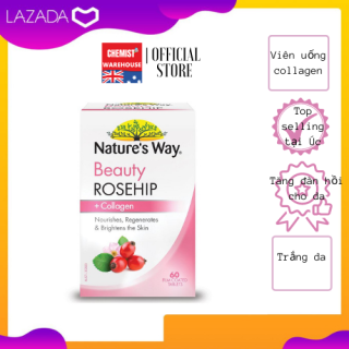 [Hàng Chuẩn ÚC] Nature s way Rosehip + Collagen - Viên uống dưỡng da collagen và tinh dầu tầm xuân 60 viên thumbnail