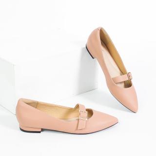Giày Búp Bê 2cm Mũi Nhọn Khóa Ngang Pixie X458