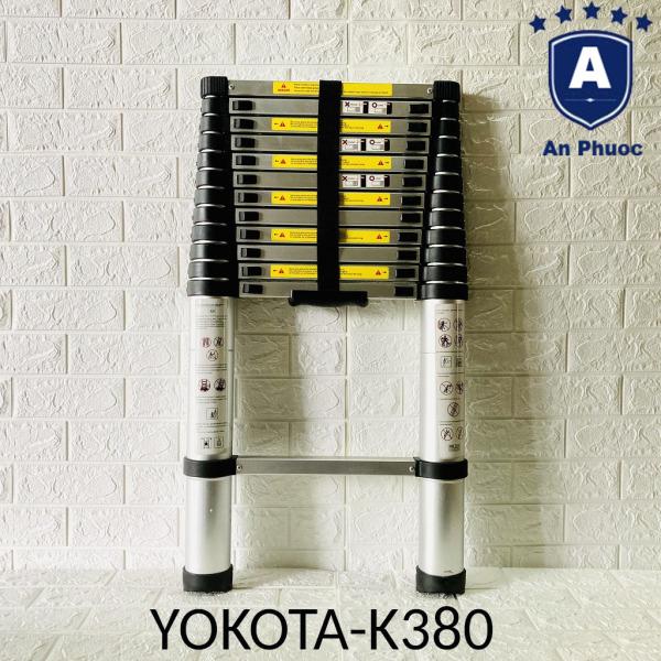 Thang Nhôm Rút Đơn Yokota Japan K380   Chiều Cao 3m8   Chất liệu nhôm Aluminiumalloy (6063A) Cao Cấp   Tải Trọng 250kg   Phân Phối Chính Thức Bởi YOKOTA   Bảo Hành Chính Hãng 12 Tháng
