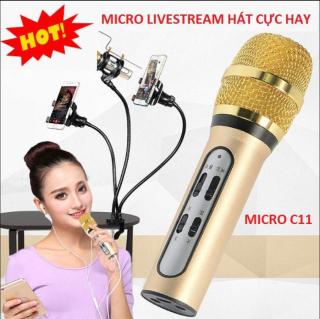 Mic Livestream C11 Giá Rẻ Chính Hãng,Micro Thu Âm Live Stream Loại Cao Cấp Kèm Tai Phone , livestream mọi nơi bạn muốn, Micro C11 với màng lọc âm dày, nút điều chỉnh Echo giúp âm thanh thêm trong và trung thực. Khả năng loại bỏ tạp âm thumbnail