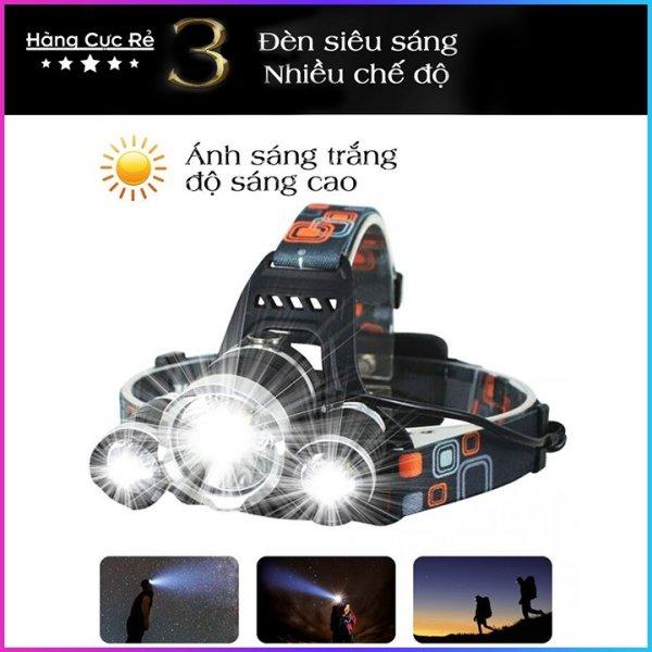[HÀNG SIÊU RẺ] Đèn pin đội đầu 3 bóng LED HIGH POWER HEADLAMP siêu sáng chiếu xa trăm mét - Đèn pin cao cấp T6 có 4 chế độ, dùng 2 pin sạc 18650 + 1 bộ sạc + 1 dây đai + 1 hộp đựng