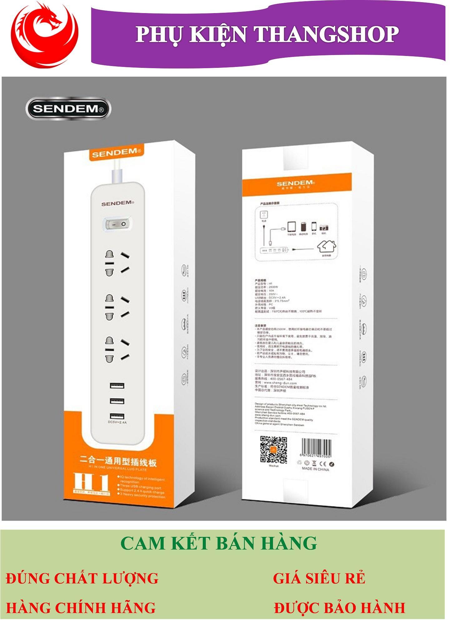 Ổ Cắm Điện Đa Năng Sendem H1 - Dùng làm ổ điện gia đình và tích hợp 3 cổng USB Bảo hành 1 năm 1 đổi 1
